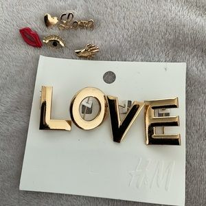 """3/30 H&M Golden Tone Brooches & Lapel Pin """"LOVE"""""""